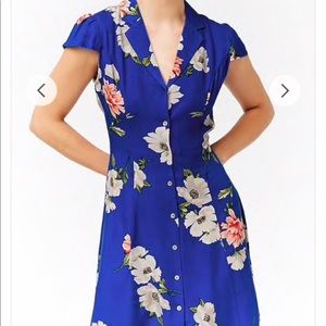 Royal Blue Floral Dress - Forever 21